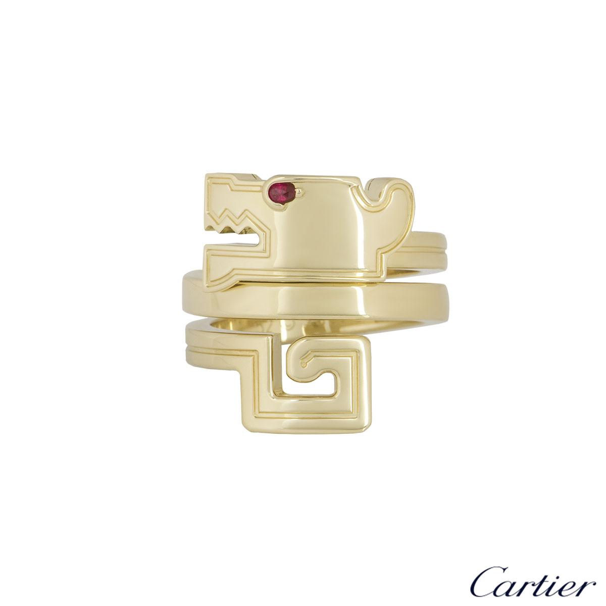 Cartier Yellow Gold Le Basier Du Dragon Ring